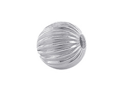 25  Sterling Silver Straight Corrugated 5mm Round Beads