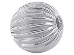 2  Sterling Silver Straight Corrugated 16mm Round Beads