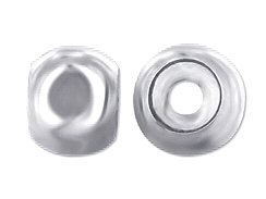 2  Sterling Silver 7mm Smart or Stopper Beads with Large Hole