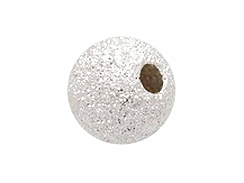 2  Sterling Silver 8mm Round Stardust Beads with Large Hole