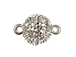Rhodium Finish Round Magnetic Fireball Base metal Clasp