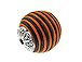 22mm Round Fabric Beads - Orange Black