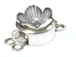 Sterling Silver Round 2-Strand 3D Flower Box Clasp