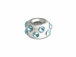 6  Sterling Silver Satin Finish Rondelle With March Birthstone Crystals