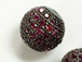 10mm Micro Pave Set Fuchsia CZ Bead, Dark Rhodium Finish