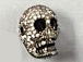 Micro Pave Set CZ Skull Bead, Dark Rhodium Finish (aka Gunmetal or black), 17x12mm