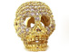 Micro Pave Set CZ Skull Bead, Gold Finish, 17x12mm