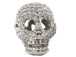 Micro Pave Set CZ Skull Bead, Silver Rhodium Finish, 17x12mm