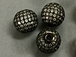 12mm Micro Pave Set CZ Bead,  Dark Rhodium Finish (aka Gunmetal or black)