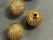 12mm Micro Pave Set CZ Bead,  Gold Finish