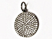 CZ Pave Pendant 18mm Disc  Pendant, Dark Rhodium/Gunmetal Finish