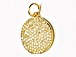 CZ Pave Pendant 18mm Disc  Pendant, Gold Finish