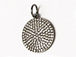 CZ Pave Pendant 15mm Disc  Pendant, Dark Rhodium/Gunmetal Finish