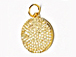 CZ Pave Pendant 15mm Disc  Pendant, Gold Finish