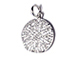 CZ Pave Pendant 15mm Disc  Pendant, Rhodium Silver Finish