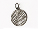 CZ Pave Pendant 12mm Disc  Pendant, Dark Rhodium/Gunmetal Finish