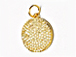 CZ Pave Pendant 12mm Disc  Pendant, Gold Finish