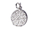 CZ Pave Pendant 12mm Disc  Pendant, Rhodium Silver Finish