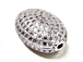 CZ Pave Beads 15mm Oval Beads, Rhodium Silver Finish