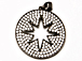 CZ Pave Pendant 25mm Cut Out Star Disc Pendant, Dark Rhodium Gunmetal Finish
