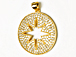 CZ Pave Pendant 25mm Cut Out Star Disc Pendant, Gold Finish