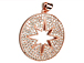 CZ Pave Pendant 25mm Cut Out Star Disc Pendant, Rose Gold Finish