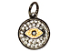 CZ Pave Pendant 12mm Evil Eye Pendant, Gold and Gunmetal Finish