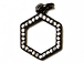 CZ Pave Pendant 12mm Hexagon Pendant, Dark Rhodium Gunmetal Finish