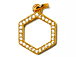 CZ Pave Pendant 12mm Hexagon Pendant, Gold Finish