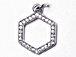 CZ Pave Pendant 12mm Hexagon Pendant, Rhodium Silver Finish