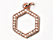 CZ Pave Pendant 12mm Hexagon Pendant, Rose Gold Finish