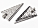 CZ Pave Pendant Triangle Pendant, Rhodium Silver Finish 38mm x 18mm