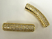 Micro Pave Set CZ Pave Connector Bar, Gold Finish, 1.5 inch, 5mm Hole