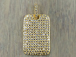 Micro Pave Set CZ Dog Tag Pendant, Gold Finish, 27mm x 18mm