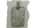 Micro Pave Set CZ Dog Tag Pendant, Dark Rhodium Finish (aka Gunmetal or black)