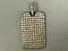 Micro Pave Set CZ Dog Tag Pendant, Rhodium Finish, 27mm x 18mm