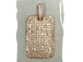 Micro Pave Set CZ Dog Tag Pendant, Rose Gold Finish, 27mm x 18mm