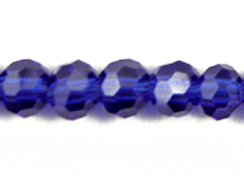 Sapphire 4mm Round Bead - Thunder Polish Glass Crystal