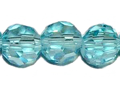 Aqua 6mm Round Bead - Thunder Polish Glass Crystal