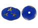 Blue Oval Acrylic Bead with Gold Stars