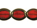 Large Flat Oval Glass Bead Strand - Red
