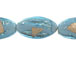 Flat 33mm Marquise Foiled Glass Bead Strand - Light Blue