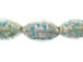 Flat 28mm Marquise Foiled Glass Bead Strand - Light Blue