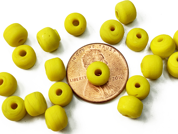 9mm Opaque Yellow Crow Beads