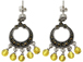 Sterling Silver Marcasite Earrings Pair with Yellow  Beads