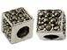 Sterling Silver Marcasite Square Bead