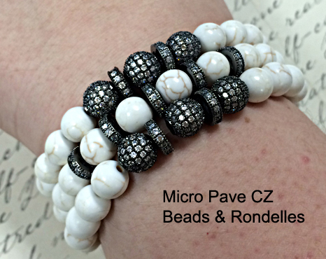 Bracelet made with Micro Pave Beads, Rondelles & Bone Beads