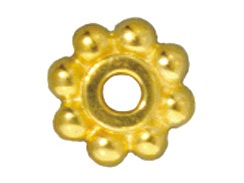 50 - TierraCast Bright Gold Plated 6mm Beaded Daisy Pewter Heishi Spacer Bead