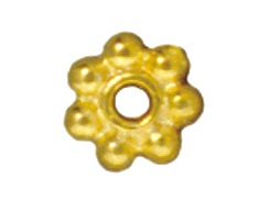 100 - TierraCast Bright Gold Plated 4mm Beaded Daisy Pewter Heishi Spacer Bead