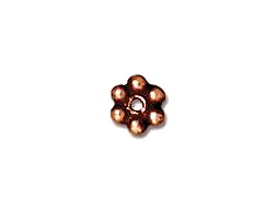100 - TierraCast Antique Copper Plated 3mm Beaded Daisy Pewter Heishi Spacer Bead